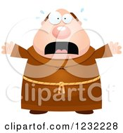 Clipart Of A Scared Screaming Monk Royalty Free Vector Illustration