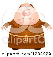 Clipart Of A Depressed Monk Royalty Free Vector Illustration