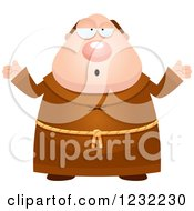 Clipart Of A Careless Shrugging Monk Royalty Free Vector Illustration