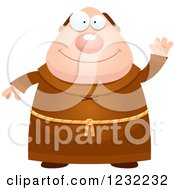 Clipart Of A Friendly Waving Monk Royalty Free Vector Illustration