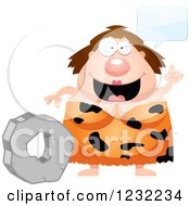 Clipart Of A Smart Cavewoman Talking About The Wheel Royalty Free Vector Illustration by Cory Thoman