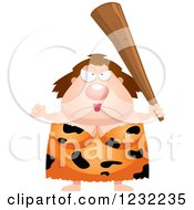 Clipart Of A Mad Defensive Cavewoman With A Club Royalty Free Vector Illustration
