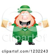 Clipart Of A Drunk St Patricks Day Leprechaun With Beer Royalty Free Vector Illustration by Cory Thoman