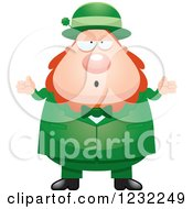 Clipart Of A Careless Shrugging St Patricks Day Leprechaun Royalty Free Vector Illustration