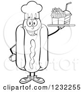 Clipart Of A Black And White Chef Hot Dog Mascot With A Soda And Fries Royalty Free Vector Illustration
