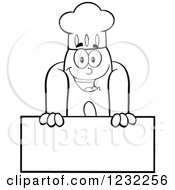 Clipart Of A Black And White Hot Dog Chef Mascot Over A Sign Royalty Free Vector Illustration