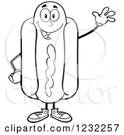 Clipart Of A Black And White Waving Hot Dog Mascot Royalty Free Vector Illustration