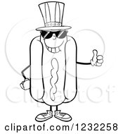 Clipart Of A Black And White American Hot Dog Mascot With Shades And A Thumb Up Royalty Free Vector Illustration