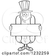 Clipart Of A Black And White American Hot Dog Mascot Holding A Sign Royalty Free Vector Illustration