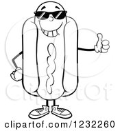 Clipart Of A Black And White Hot Dog Mascot In Shades Holding A Thumb Up Royalty Free Vector Illustration