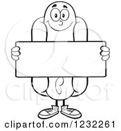 Clipart Of A Black And White Hot Dog Mascot Holding A Sign Royalty Free Vector Illustration