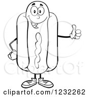 Clipart Of A Black And White Hot Dog Mascot Holding A Thumb Up Royalty Free Vector Illustration