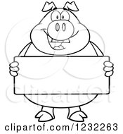 Clipart Of A Black And White Happy Pig Holding A Sign Board Royalty Free Vector Illustration