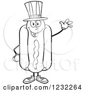 Clipart Of A Black And White Waving American Hot Dog Mascot Royalty Free Vector Illustration