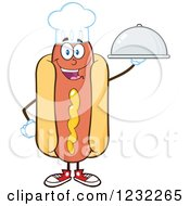 Clipart Of A Chef Hot Dog Mascot With A Platter Royalty Free Vector Illustration