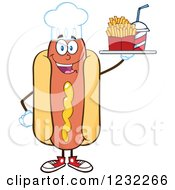 Clipart Of A Chef Hot Dog Mascot With A Soda And Fries Royalty Free Vector Illustration