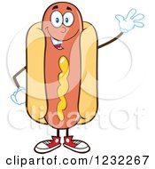 Clipart Of A Waving Hot Dog Mascot Royalty Free Vector Illustration by Hit Toon