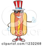 Clipart Of An American Hot Dog Mascot With Shades And A Thumb Up Royalty Free Vector Illustration
