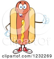 Clipart Of A Hot Dog Mascot Holding A Thumb Up Royalty Free Vector Illustration by Hit Toon
