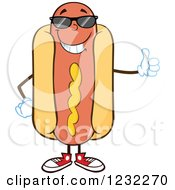 Clipart Of A Hot Dog Mascot In Shades Holding A Thumb Up Royalty Free Vector Illustration