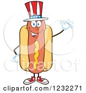 Clipart Of A Waving American Hot Dog Mascot Royalty Free Vector Illustration