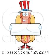 Clipart Of An American Hot Dog Mascot Holding A Sign Royalty Free Vector Illustration by Hit Toon