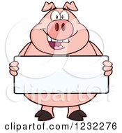 Clipart Of A Happy Pig Holding A Sign Board Royalty Free Vector Illustration by Hit Toon