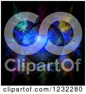 Clipart Of A 3d Globe Over Fractals Royalty Free Illustration by oboy