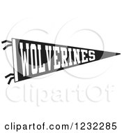 Clipart Of A Black And White Wolverines Team Pennant Flag Royalty Free Vector Illustration by Johnny Sajem