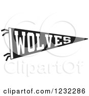 Clipart Of A Black And White Wolves Team Pennant Flag Royalty Free Vector Illustration by Johnny Sajem