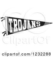 Clipart Of A Black And White Trojans Team Pennant Flag Royalty Free Vector Illustration by Johnny Sajem