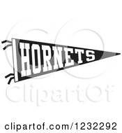 Clipart Of A Black And White Hornets Team Pennant Flag Royalty Free Vector Illustration by Johnny Sajem