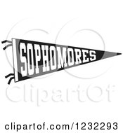 Clipart Of A Black And White Sophmores Team Pennant Flag Royalty Free Vector Illustration by Johnny Sajem