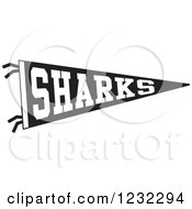 Clipart Of A Black And White Sharks Team Pennant Flag Royalty Free Vector Illustration by Johnny Sajem