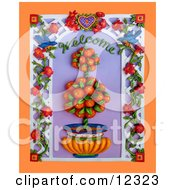 Clay Sculpture Clipart Welcome Orange Tree Scene Royalty Free 3d Illustration