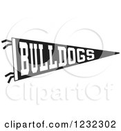 Clipart Of A Black And White Bulldogs Team Pennant Flag Royalty Free Vector Illustration by Johnny Sajem