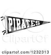 Black And White Pirates Team Pennant Flag