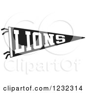 Black And White Lions Team Pennant Flag
