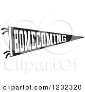 Clipart Of A Black And White Homecoming Team Pennant Flag Royalty Free Vector Illustration by Johnny Sajem