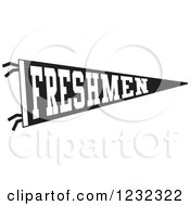 Clipart Of A Black And White Freshmen Team Pennant Flag Royalty Free Vector Illustration