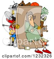 Clipart Of A Caucasian Woman Pushing Her Back Against A Full Closet Royalty Free Vector Illustration