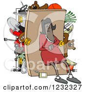 Clipart Of An African American Woman Pushing Her Back Against A Full Closet Royalty Free Vector Illustration