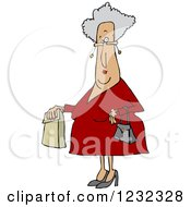 Clipart Of A Senior Caucasian Woman With A Paper Bag Royalty Free Vector Illustration