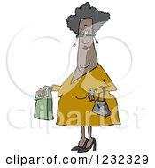 Clipart Of A Senior African American Woman With A Paper Bag Royalty Free Vector Illustration