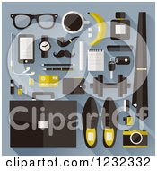 Clipart Of Business Man Items Including Accessories And Tools On Blue Royalty Free Vector Illustration
