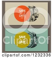 Clipart Of Baroque Save The Dates With Sample Text Royalty Free Vector Illustration