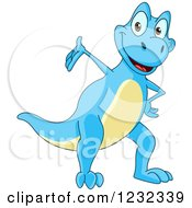 Clipart Of A Cute Blue And Yellow Dinosaur Presenting Royalty Free Vector Illustration