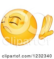 Clipart Of A Yellow Emoticon Refusing Royalty Free Vector Illustration