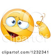 Clipart Of A Yellow Emoticon Gesturing Craziness Or A Screw Loose Royalty Free Vector Illustration
