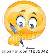 Clipart Of A Yellow Emoticon Writing Royalty Free Vector Illustration